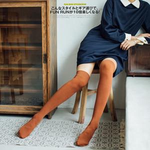 HUI GUAN Japonês de Alta Qualidade Mulheres Meias Sólidos Listrado Meias Longas Respirável Stretchy Joelho Penteado Algodão Mulheres Meia