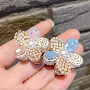 Korea Style Simple Sweet Cute Transparent Crystal Flowers Color Rhinestone Hair Claw for Women Girl Fashion Jewelry Accessories