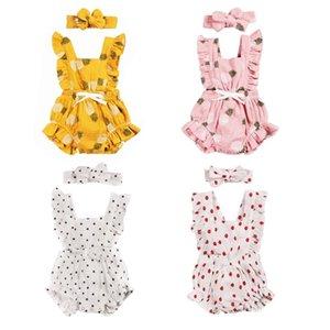 4 colori 0-24M di nuova estate dei capretti dei ragazzi delle neonate pagliaccetto Ananas Polka Stampa Sleeveless delle increspature delle tute fascia
