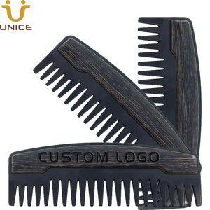 موك 100 قطع preminum oem مخصص شعار مشط الأسنان واسعة معدنية اللحية خشبية مشط النفط أمشاط الشعر للرجال