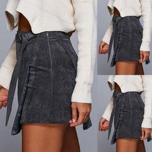 Estilo Vintage Nueva 2018 manera de las mujeres de talle alto pana una línea corta mini falda de la falda corta