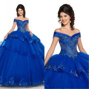 Modernos 2020 Cinderella bordados de contas de cristal Quinceanera vestido de baile doce 16 Dresses Alças contas de cristal em camadas de tule Prom Vestidos