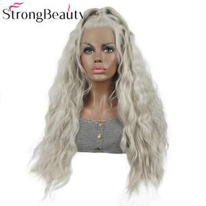 Peluca del frente del cordón de Loose Wave Glueless Platinum Sliver Grey Hair Resistente al calor con cola de caballo para mujeres Estilo libre