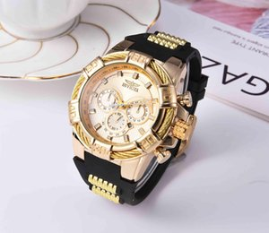 2020 INVICTA Luxury Gold Watch All sub dials working Men Sport Quartz Watches Chronograph Auto date rubber band Wrist Watch for male gift 3C