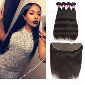 A Brazilian Peruvian Straight Human Hair Weave Bundles Straight Weaves Style 4pcs With Lace Frontal Closure And Bundles Remy Hair Compa