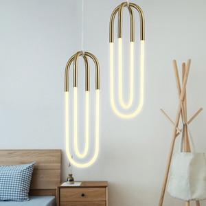 Nordic em forma de U 2 Cachimbo Gold Pendant Lamp Chandelier Sala de cabeceira quarto Home Hotel Decoração PA0560