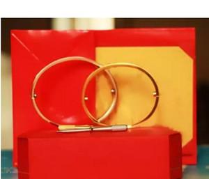 التيتانيوم الصلب الحب أساور الذهب والفضة وارتفع الذهب أساور الرجال النساء المسمار مفك سوار الإسورة زوجين المجوهرات حجم 16-21