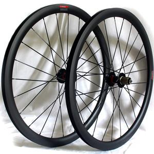 탄소 섬유 도로 자전거 디스크 브레이크 휠 38mm 50mm 60mm 클린 관형 700C 3K 매트 액슬 버전을 통해 폭 25mm의 QR 림 자전거 바퀴