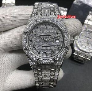 Boutique Relógio de prata diamante Árabe Digital Moda Hot Sale dos homens Top Diamante Popular relógios automáticos mecânica Sports Watch