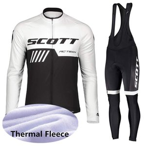 새로운 프로 투어 팀 스코트 사이클링 유니폼 긴 소매 겨울 열 양털 따뜻한 자전거 의류 MTB 자전거 스포츠 정장 Y052903