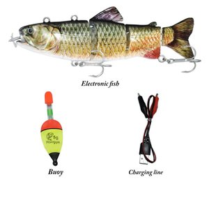 ODS Electric Lure Wobblers For Fishing 4-Segement Swimbait USB Rechargeable lure Crankbait Flashing LED light Fishing lure T200602