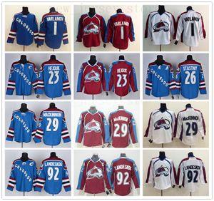 2016 Colorado Avalanche camisola do hóquei 1 Semyon Varlamov 23 Milan Hejduk 29 Nathan MacKinnon 92 Gabriel Landeskog Burgundy Maroon Red jersey