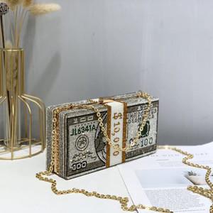 La pila de cristales en efectivo dinero las mujeres de embrague noche bolsas de la boda de diamante de cena monederos y los bolsos de las mujeres de lujo bolsas de diseñador