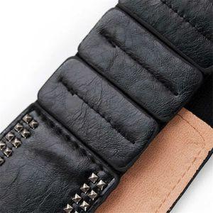 New Black Leather Cummerbunds Female Woman Belt Studded Wide Women'S Belts Punk Rivet Stretchy Dress Waistbands Lady