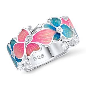 Hot Sale 925 Sterling Silver Enamel Flower Butterfly & Infinity Love Pave Blue CZ Crystal Finger Rings for Women Wedding Jewelry
