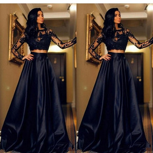 2019 Cheap Black Two Pieces Evening Dresses Illusion Long Sleeves Lace Appliques Open Back Cheap Long Party Dress Prom Gowns