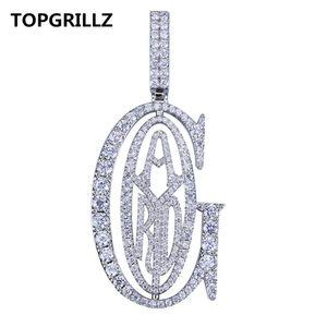 Topgrillz Hip Hop Rappeur Tyga G Ice Out Pendentif Micro Pavé Cz Design Avec Grande Bail Pour Hommes Bijoux Cadeau J190616
