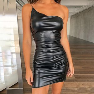 Мини-платье Кожа PU одно плечо Bodycon Sexy 2020 Женщина Party Night Black Платья Clubwear Одежда Vestidos Новый