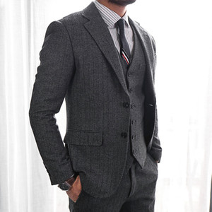 Wedding Tuxedos Groom Wear Groomsmen Suits Tweed Herringbone 2019 Modest Slim Fit Business Suit Jacket + Pants + Vest Men's Suits YY2203