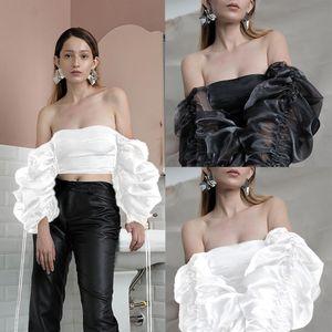 Las mujeres de moda del hombro de cultivos a largo linterna de la manga remata la blusa T tapas de la camisa