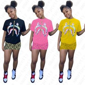 Frauen Designer-T-Shirt und Shorts Zwei Stück Outfit Marke Anzug Design Haifisch-T-Shirts Jogger Sets Sportswear Plus Size Kleidung D52502