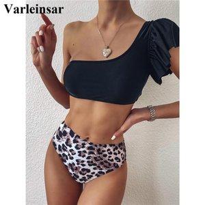 Ruffled Leopard Female Swimsuit High Waist Bikini Women Swimwear Two-pieces Bikini set One Shoulder Bather Bathing Suit V2225