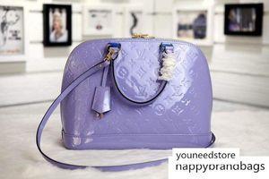 Alma borsetta M90100 di Vernis Tote Top ossidato Vera Pelle Iconic Shoulder Bag Croce Body Business Messenger Bags