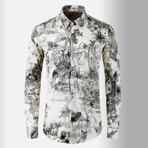 New 100% Cotton Mens Shirts Luxury Digital Printing Long Sleeve Casual Mens Dress Shirts Plus Size 4xl Slim Fit Male