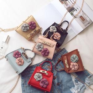 kids Mini handbags fashion Korean Children pu leather flower bag single shoulder slung handbag cross body bags