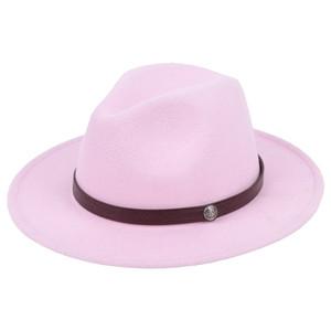 Moda-e unisex Lana Feltro cappelli di Fedora con cinturino in pelle Donne Vintage tesa larga Mens Fedoras Cap del cappello di jazz Cappello Panama formale