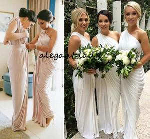 One Shoulder Champagne Bridesmaid Dresses Draped Satin Long Ivory Purple Party Dresses Maid Of Honor Split Wedding Guest Dresses