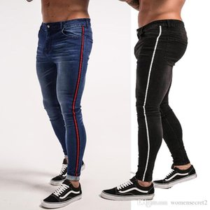 Sokak Jeans Çizgili Siyah Mavi Fermuar Tasarım Jean pantolon Skinny Pantolon Erkek İlkbahar Hiphop