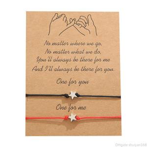 Melhor amigo da estrela encanto pulseiras casal Pulseira Handmade Woven Rope ajustável Bangle com presente do dia cartão de Nova moda jóias dos Namorados