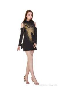 Impreso del palo de Halloween para mujer vestidos de rocío del diseñador del vestido de verano de manga larga Moda para mujer vestido de sudaderas con capucha