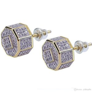 Gold CZ 3D Octagon Iced Out Bling Bling Earrings 1 Pair Micro Pave Cubic Zircon Earring For Men Women Rapper Singer Accessories