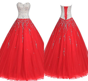 Red Tulle Silver Crystals Quinceanera Dresses Sweetheart Corset Back Beading Open Back Prom Dress 8th Grade Gradaution Homecoming Evening