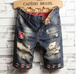 Einzigartige Herren Denim-Shorts gerissen Vintage Fashion Designer Washed Knielange Jeans 2019 Zerkratzte Hip Hop Short Pants Hose 782