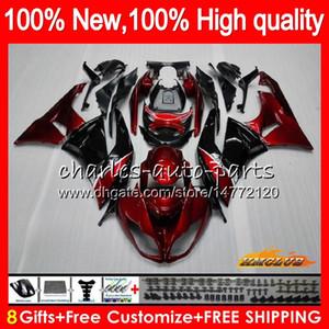 Cuerpo para Kawasaki ZX636 ZX600 ZX6R ZX6R 09 10 11 12 33HC.2 ZX 6R 636 600cc de vino tinto caliente ZX636 ZX 6R 2009 2010 2011 2012 100% nuevo carenado