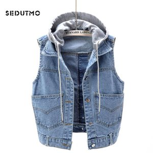 SEDUTMO Summer Plus Size 5XL Denim Vest Women Streetwear Hooded Jacket Autumn Slim Coat Vintage Waistcoat Basic Outerwear ED784