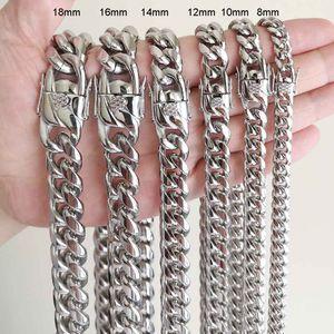 Hommes Femmes Chaînes cubains Collier Bracelet 316L Ensembles de bijoux en acier inoxydable poli Hip Hop Choker Lien Double sécurité fermoirs 8mm-18mm