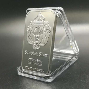 100 unidades não magnético Scottsdale bar leão núcleo cabeça de latão banhado a prata bullion 1 OZ lingote 50 milímetros x 28 mm casa decoração moeda de colecção