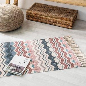 Hot Sale Retro Bohemian Hand Woven Cotton Linen Carpet Tassel Bedside Rug Geometric Floor Mat Living Room Bedroom Home Decor Y200527