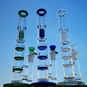 12 дюймов Высота стекла Bongs Тройной расческой нефтяных вышек Birdcage Проц Dab Рог Большие прямой трубы водопроводы 18мм Боул HR316