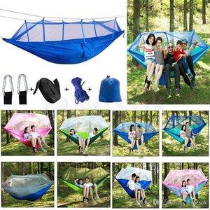 Outdoor Mosquito Net Parachute Hammock Portable Camping Hanging Sleeping Bed High Strength Sleeping Swing 260x140cm dc716
