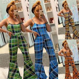 Womens manta alargamento Designer Jumpsuits Mulher Verão Spaghetti Strap uma peças de cintura alta macacãozinho Fêmeas Magro Moda Casual Calças