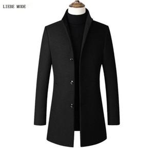 الكورية ماركة عالية الجودة الصوف رمادي أحمر خندق معطف الرجال الخريف الشتاء الرجال الصوفية معطف الوقوف طوق أسود طويل واقية