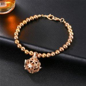 Aromaterapia Diffusore Bracciale Bracciale con ciondolo per bracciali Oli essenziali Bracciale con ciondolo medaglione Bracciale con perline in argento 2 colori