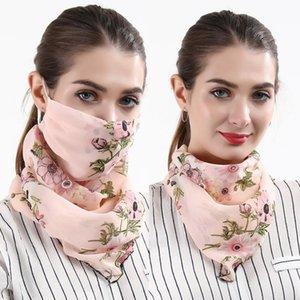 Scarf Face Mask Women Dustproof Mouth Cover Summer Chiffon Handkerchief Outdoor Windproof Half Face Dust-proof Sunshade Masks