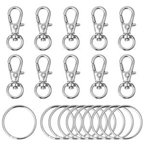 120pcs giratória Lanyard Gancho metal lagosta fecho com chave Anéis DIY Chaveiro Jóia Keychain Chaveiro Acessórios de prata da cor