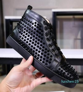 Designs Fashion Spike Loafer Dress Shoes Red Bottom Sneaker Luxury Party Wedding Shoes Genuine Leather Spikes Lace-up Casual Shoes l16